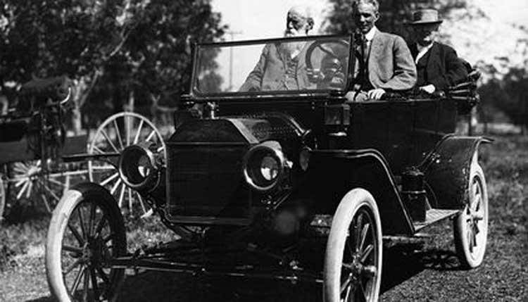 Henry Ford, Thomas Edison, Harvey Firestone, and John Burroughs